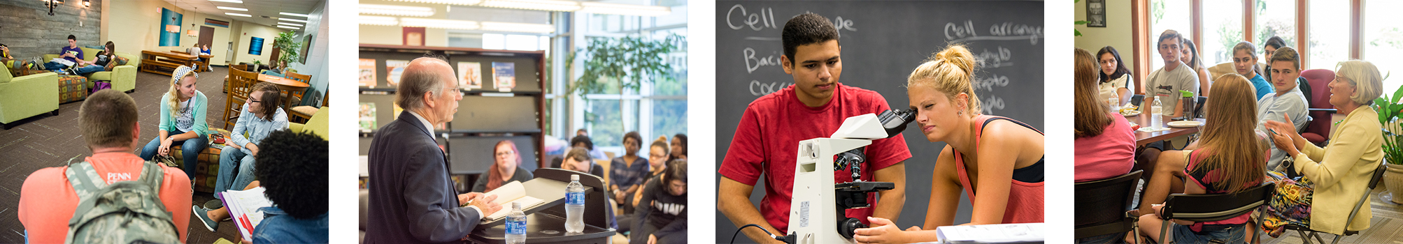 Photos of students in classroom and other academic settings.