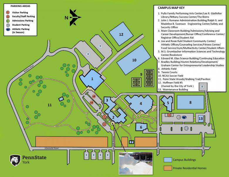 A map of the Penn State York campus