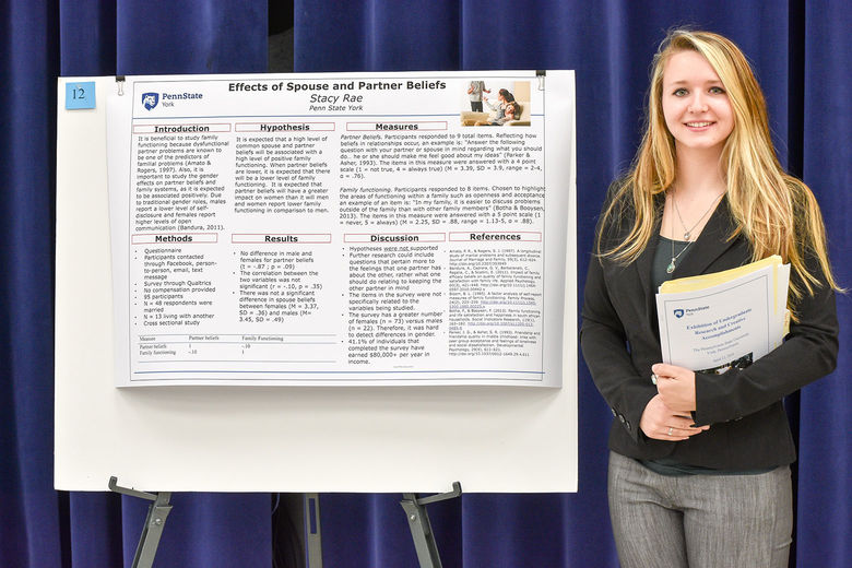 Photo of an undergraduate student with their research exhibit