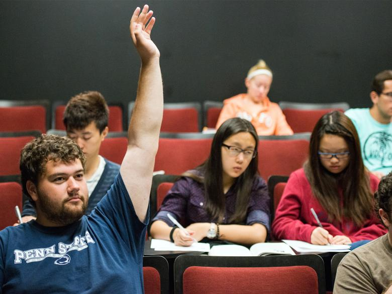 Student raising his hand during a class.