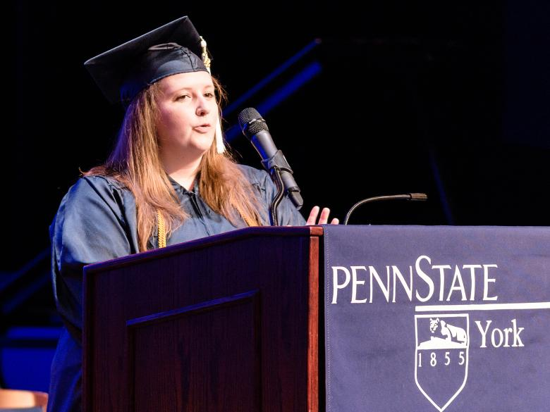 Penn State York Alumni Association President speaking at Commencement.