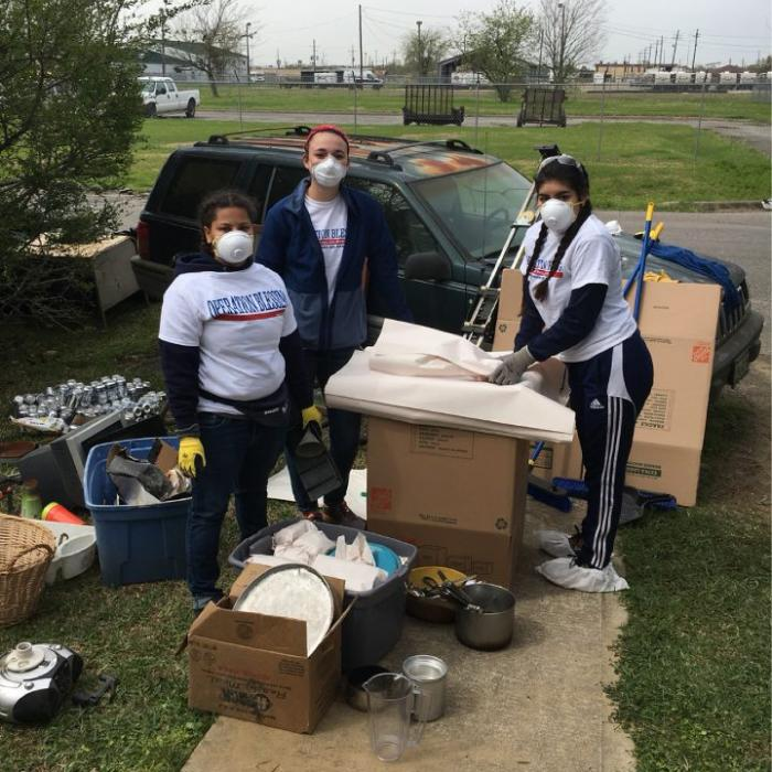 Penn State York students doing disaster relief work during spring break 2018.