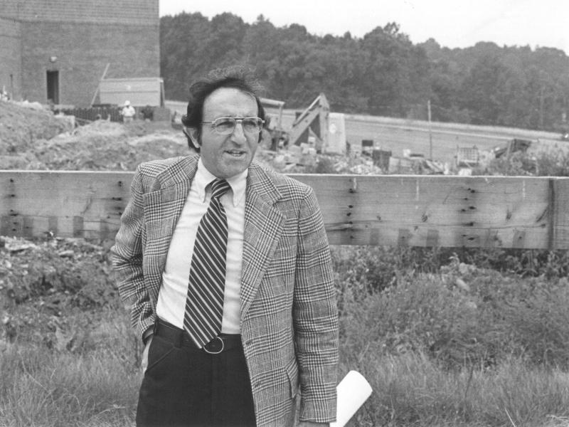 Edward M. Elias during construction of the Student Community Center