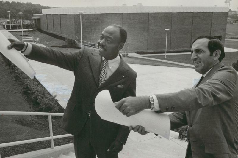 Edward M. Elias and Vonnie Grimes planning the new library