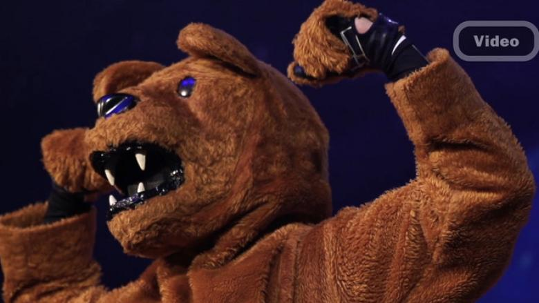 Nittany Lion flexing muscles. Video link button.